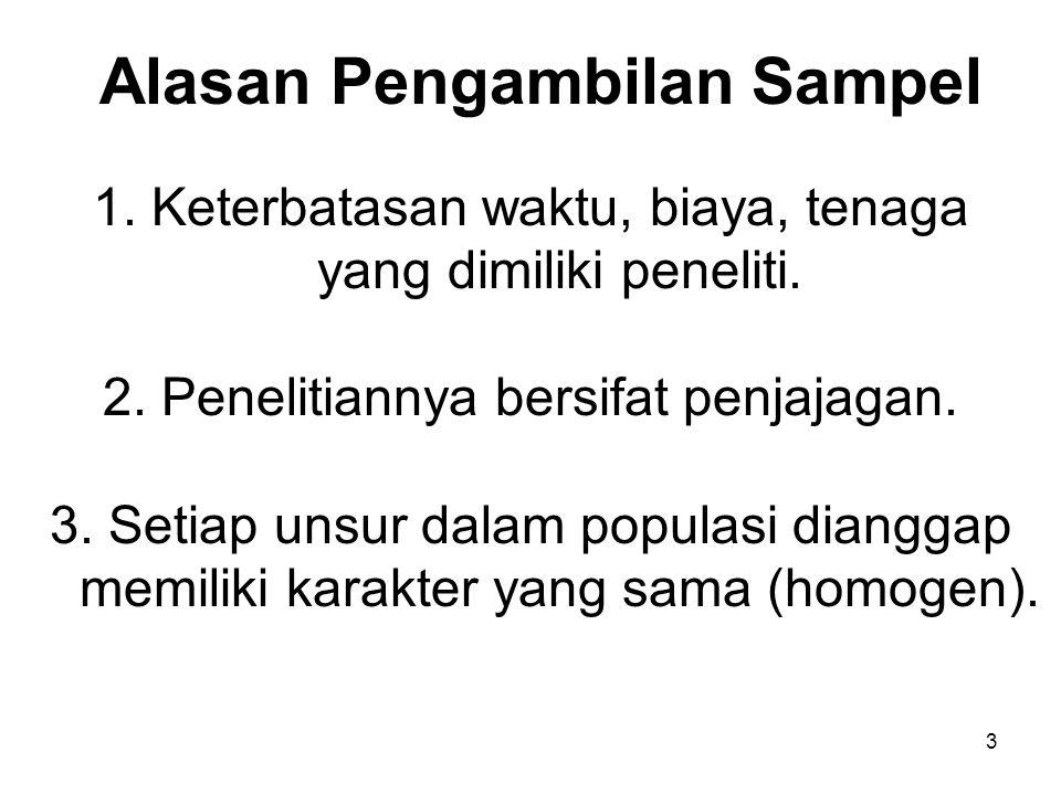 14 Sampel Acak Sederhana Jika setiap unsur dalam populasi dianggap sama (homogen) oleh peneliti.