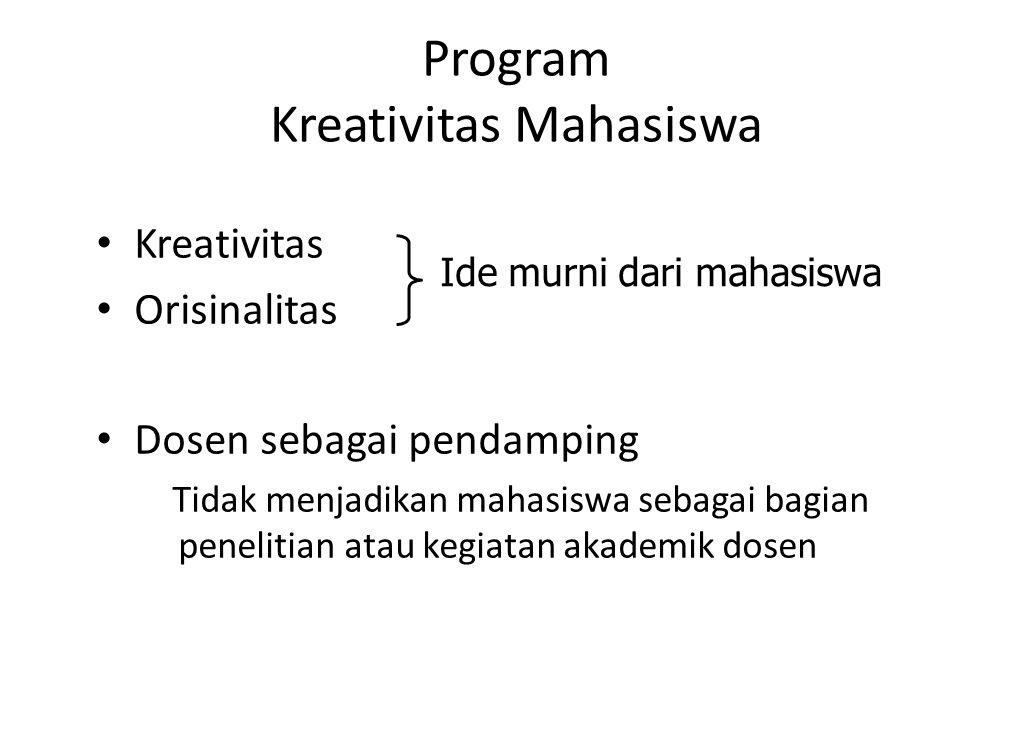 Program Kreativitas Mahasiswa Kreativitas Orisinalitas Dosen sebagai pendamping Tidak menjadikan mahasiswa sebagai bagian penelitian atau kegiatan aka