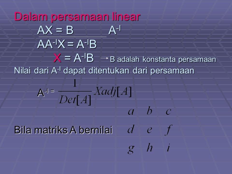 Dalam persamaan linear AX = B A -I AA -I X = A -I B X = A -I B B adalah konstanta persamaan X = A -I B B adalah konstanta persamaan Nilai dari A -I dapat ditentukan dari persamaan A -I = Bila matriks A bernilai