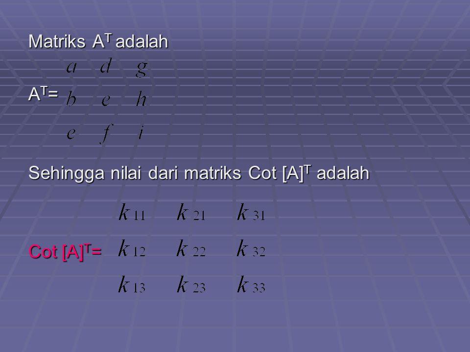 Matriks A T adalah A T = Sehingga nilai dari matriks Cot [A] T adalah Cot [A] T =