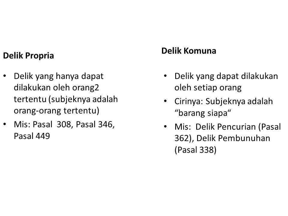 Delik Propria Delik yang hanya dapat dilakukan oleh orang2 tertentu (subjeknya adalah orang-orang tertentu) Mis: Pasal 308, Pasal 346, Pasal 449 Delik