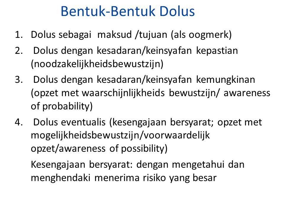 Bentuk-Bentuk Dolus 1. Dolus sebagai maksud /tujuan (als oogmerk) 2. Dolus dengan kesadaran/keinsyafan kepastian (noodzakelijkheidsbewustzijn) 3. Dolu