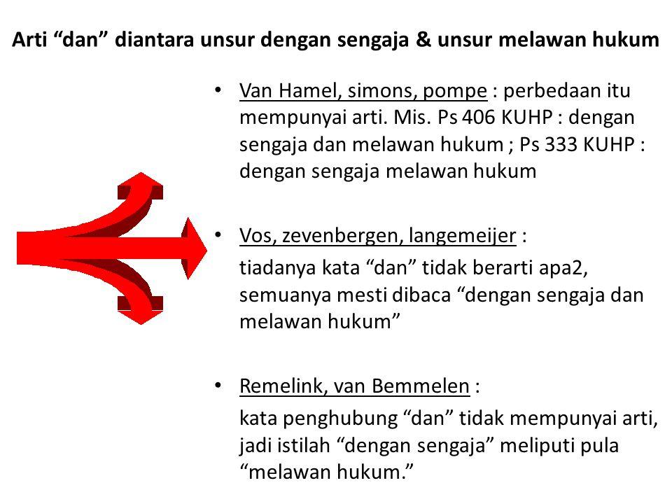 "Arti ""dan"" diantara unsur dengan sengaja & unsur melawan hukum Van Hamel, simons, pompe : perbedaan itu mempunyai arti. Mis. Ps 406 KUHP : dengan seng"