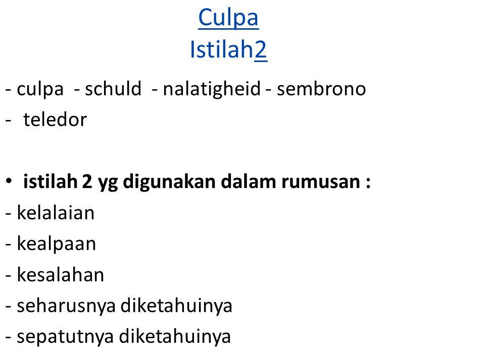 Culpa Istilah2 - culpa - schuld - nalatigheid - sembrono -teledor istilah 2 yg digunakan dalam rumusan : - kelalaian - kealpaan - kesalahan - seharusn