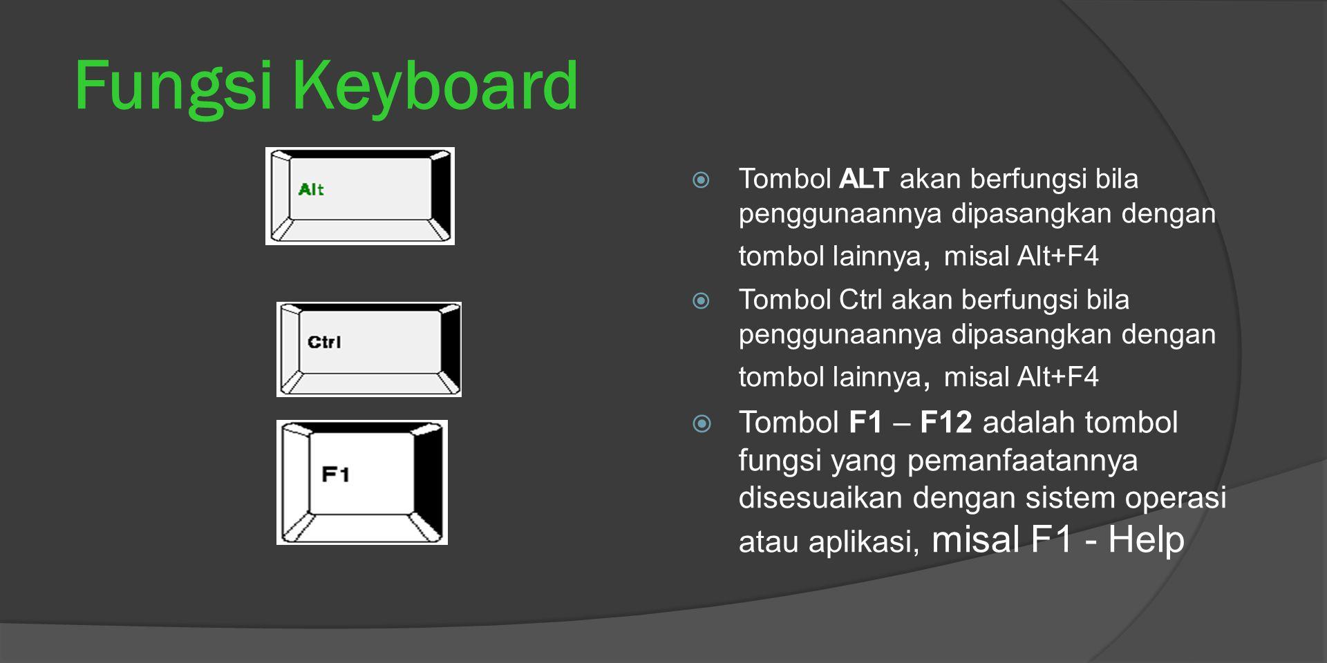 Fungsi Keyboard  Tombol ALT akan berfungsi bila penggunaannya dipasangkan dengan tombol lainnya, misal Alt+F4  Tombol Ctrl akan berfungsi bila pengg