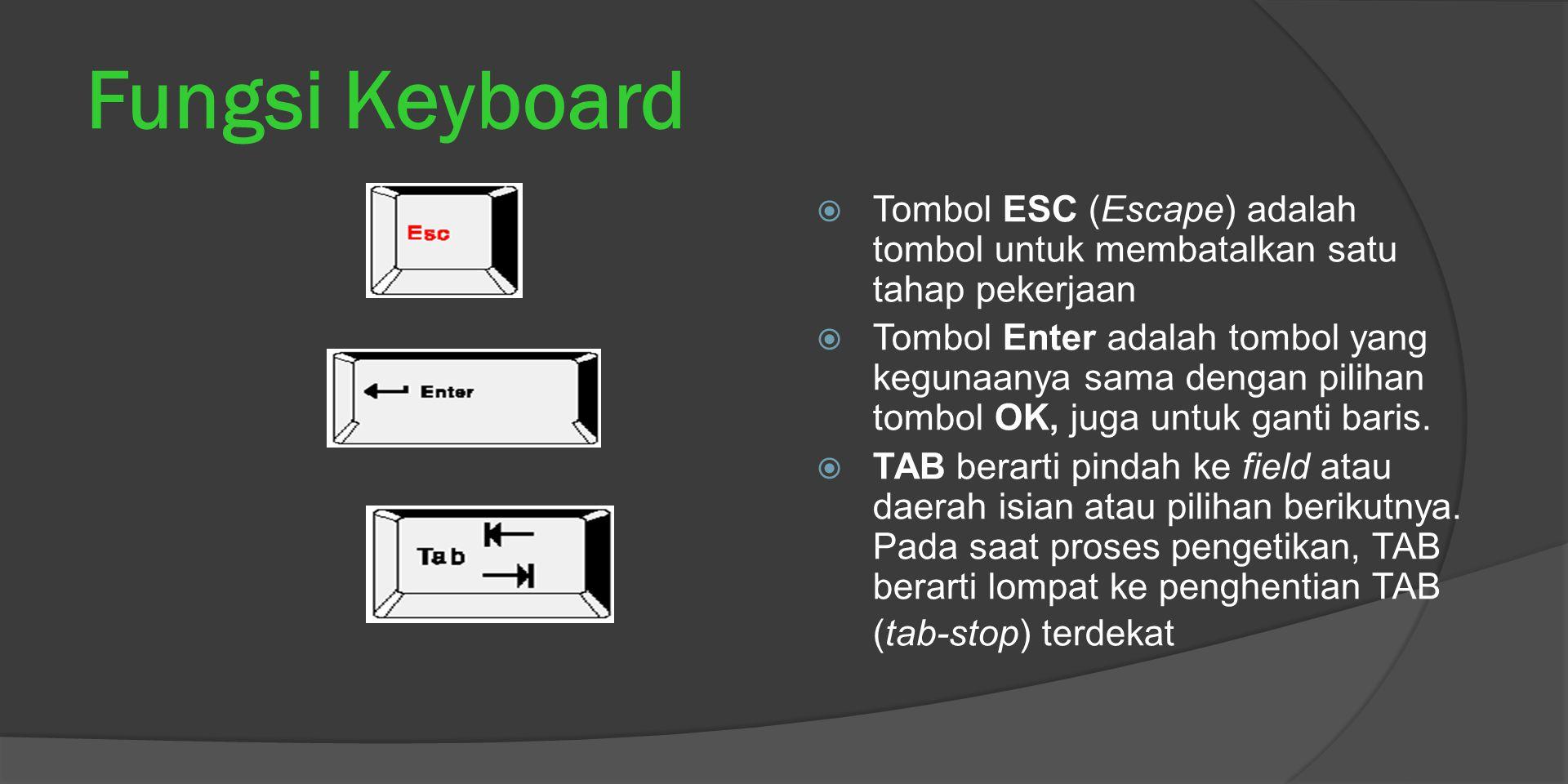 Fungsi Keyboard  Tombol ESC (Escape) adalah tombol untuk membatalkan satu tahap pekerjaan  Tombol Enter adalah tombol yang kegunaanya sama dengan pilihan tombol OK, juga untuk ganti baris.