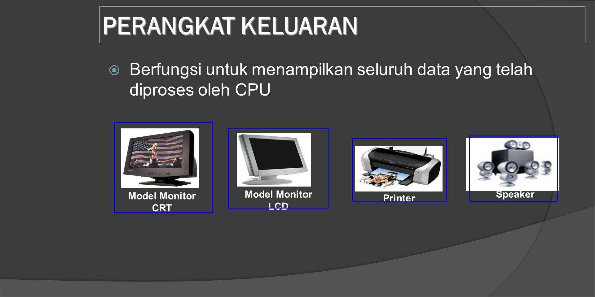 PERANGKAT KELUARAN  Berfungsi untuk menampilkan seluruh data yang telah diproses oleh CPU Model Monitor CRT Model Monitor LCD Printer Speaker