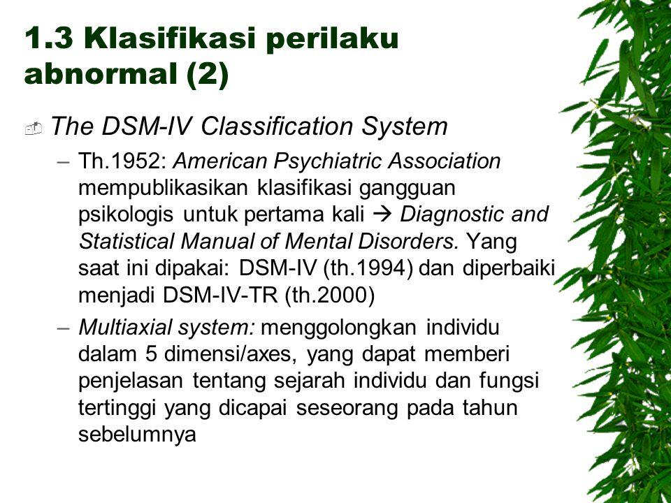 The DSM-IV Classification System –Th.1952: American Psychiatric Association mempublikasikan klasifikasi gangguan psikologis untuk pertama kali  Dia