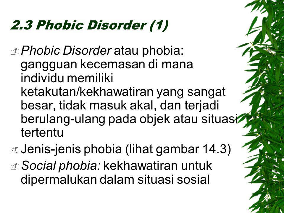 2.3 Phobic Disorder (1)  Phobic Disorder atau phobia: gangguan kecemasan di mana individu memiliki ketakutan/kekhawatiran yang sangat besar, tidak masuk akal, dan terjadi berulang-ulang pada objek atau situasi tertentu  Jenis-jenis phobia (lihat gambar 14.3)  Social phobia: kekhawatiran untuk dipermalukan dalam situasi sosial
