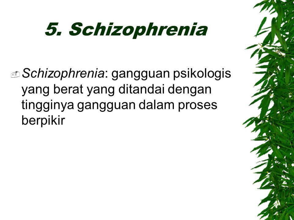 5. Schizophrenia  Schizophrenia: gangguan psikologis yang berat yang ditandai dengan tingginya gangguan dalam proses berpikir
