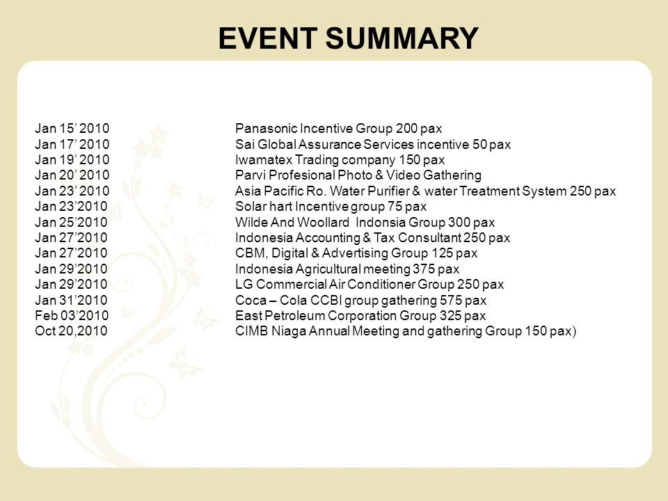 Jan 15' 2010Panasonic Incentive Group 200 pax Jan 17' 2010Sai Global Assurance Services incentive 50 pax Jan 19' 2010Iwamatex Trading company 150 pax Jan 20' 2010Parvi Profesional Photo & Video Gathering Jan 23' 2010Asia Pacific Ro.