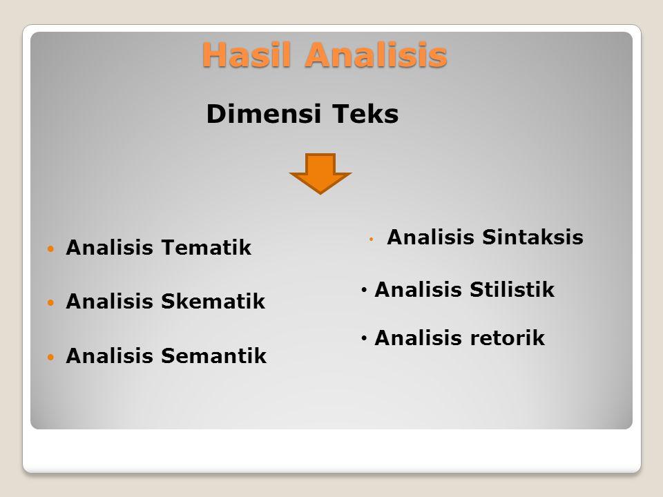 Hasil Analisis Analisis Tematik Analisis Skematik Analisis Semantik Dimensi Teks Analisis Sintaksis Analisis Stilistik Analisis retorik