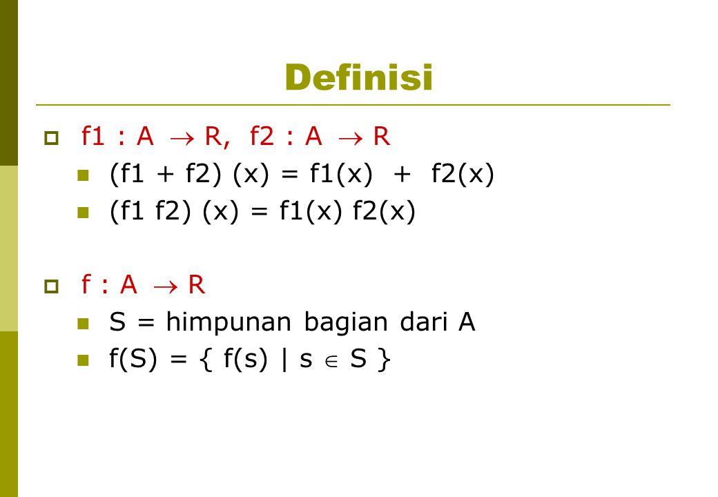Definisi  f1 : A  R, f2 : A  R (f1 + f2) (x) = f1(x) + f2(x) (f1 f2) (x) = f1(x) f2(x)  f : A  R S = himpunan bagian dari A f(S) = { f(s) | s