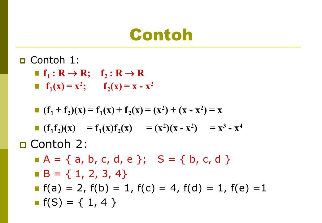 Contoh  Contoh 1: f 1 : R  R; f 2 : R  R f 1 (x) = x 2 ; f 2 (x) = x - x 2 (f 1 + f 2 )(x) = f 1 (x) + f 2 (x) = (x 2 ) + (x - x 2 ) = x (f 1 f 2 )