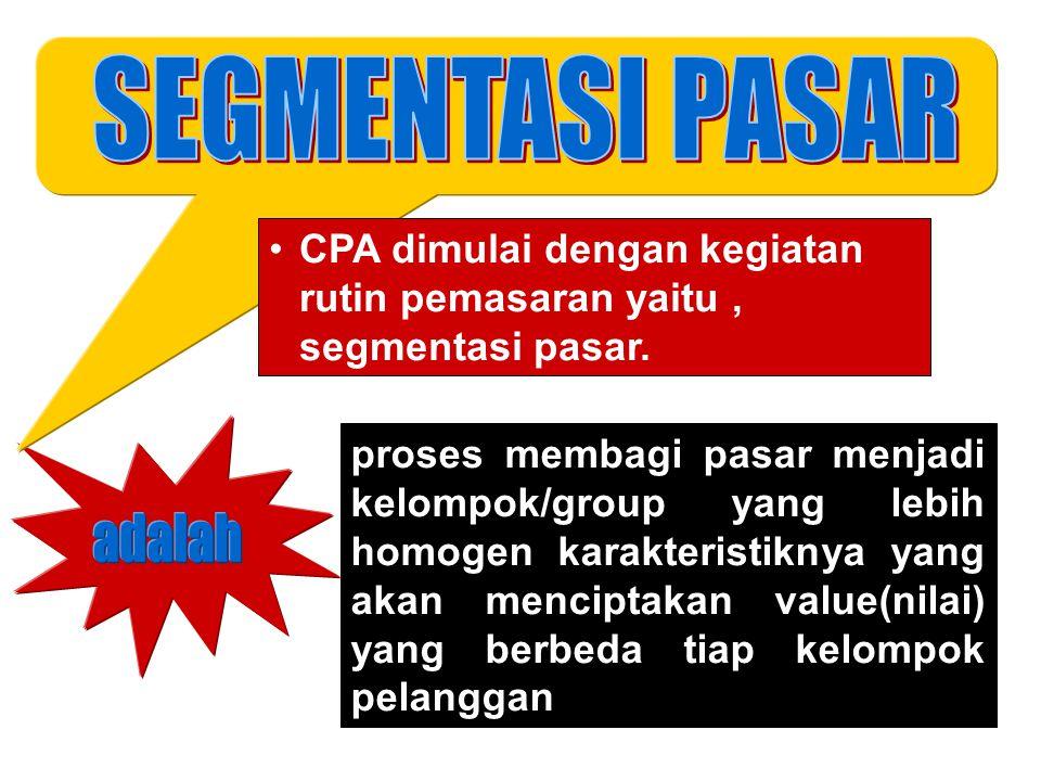 CPA dimulai dengan kegiatan rutin pemasaran yaitu, segmentasi pasar. proses membagi pasar menjadi kelompok/group yang lebih homogen karakteristiknya y
