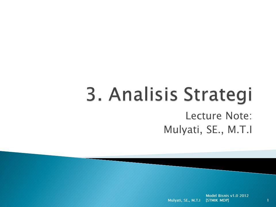  Dalam strategi tercakup hal- hal: 1.Tujuan dari bisnis (goal); 2.Kerangka waktu (timeframe); 3.Organisasi/pengaturan sumberdaya; 4.Lingkungan.