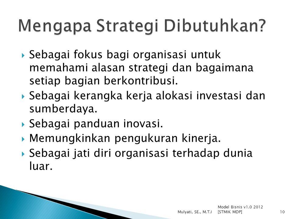  Sebagai fokus bagi organisasi untuk memahami alasan strategi dan bagaimana setiap bagian berkontribusi.
