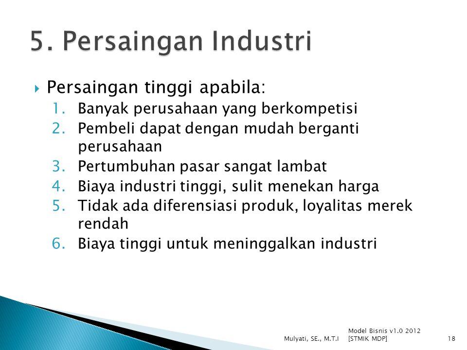  Persaingan tinggi apabila: 1.Banyak perusahaan yang berkompetisi 2.Pembeli dapat dengan mudah berganti perusahaan 3.Pertumbuhan pasar sangat lambat 4.Biaya industri tinggi, sulit menekan harga 5.Tidak ada diferensiasi produk, loyalitas merek rendah 6.Biaya tinggi untuk meninggalkan industri Model Bisnis v1.0 2012 [STMIK MDP] Mulyati, SE., M.T.I18