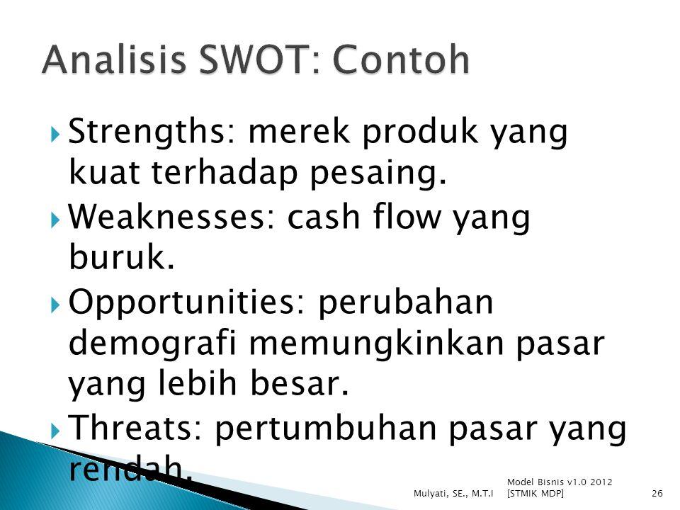  Strengths: merek produk yang kuat terhadap pesaing.