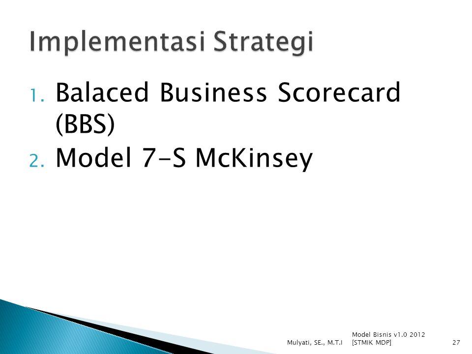 1.Balaced Business Scorecard (BBS) 2.