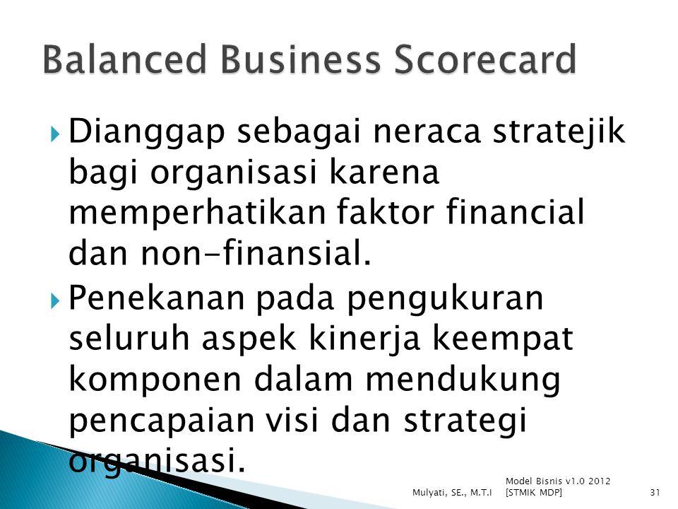  Dianggap sebagai neraca stratejik bagi organisasi karena memperhatikan faktor financial dan non-finansial.