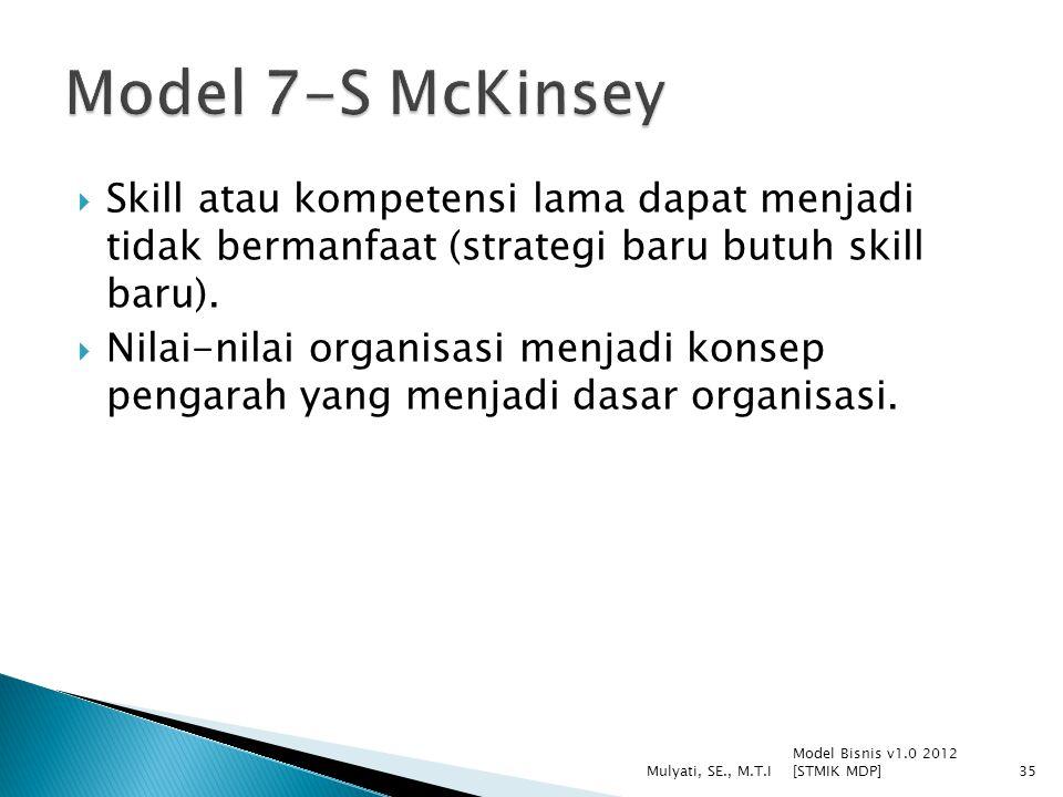  Skill atau kompetensi lama dapat menjadi tidak bermanfaat (strategi baru butuh skill baru).