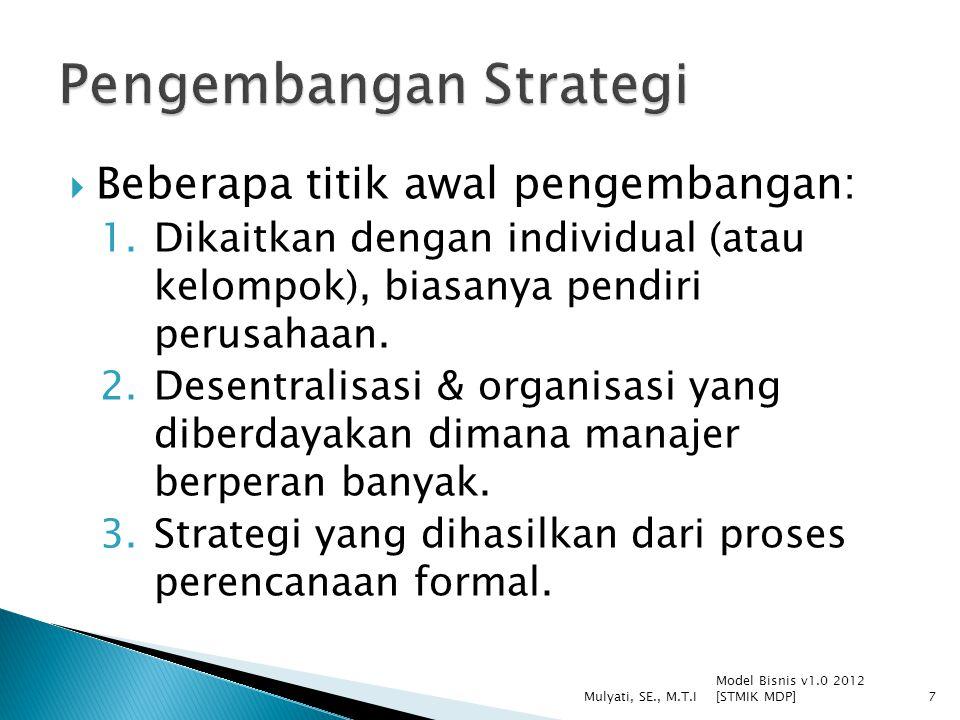  Beberapa titik awal pengembangan: 1.Dikaitkan dengan individual (atau kelompok), biasanya pendiri perusahaan.