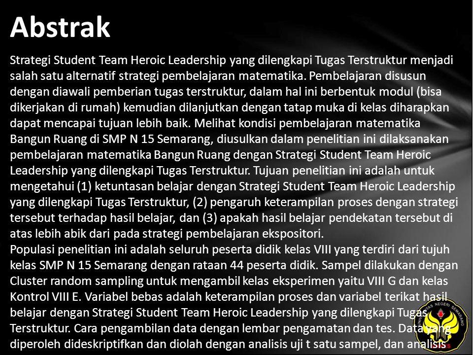 Kata Kunci Strategi Student Team Heroic Leadership, Tugas Terstruktur, Keterampilan Proses, Hasil Belajar