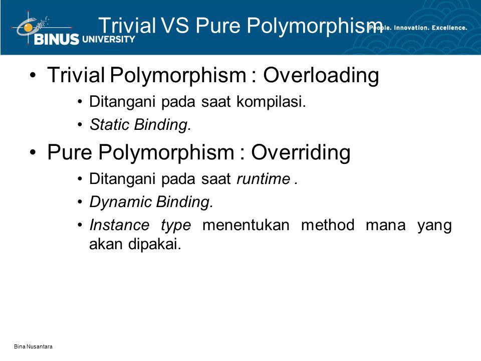 Bina Nusantara Trivial VS Pure Polymorphism Trivial Polymorphism : Overloading Ditangani pada saat kompilasi. Static Binding. Pure Polymorphism : Over