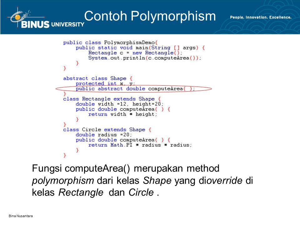 Bina Nusantara Contoh Polymorphism Fungsi computeArea() merupakan method polymorphism dari kelas Shape yang dioverride di kelas Rectangle dan Circle.