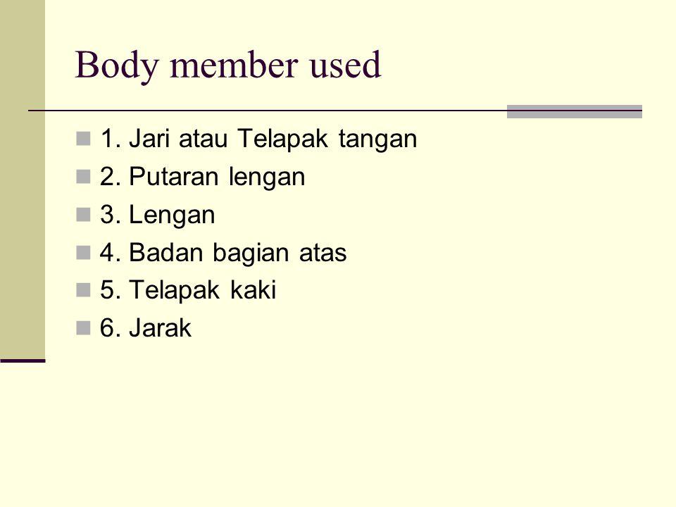 Body member used 1. Jari atau Telapak tangan 2. Putaran lengan 3. Lengan 4. Badan bagian atas 5. Telapak kaki 6. Jarak