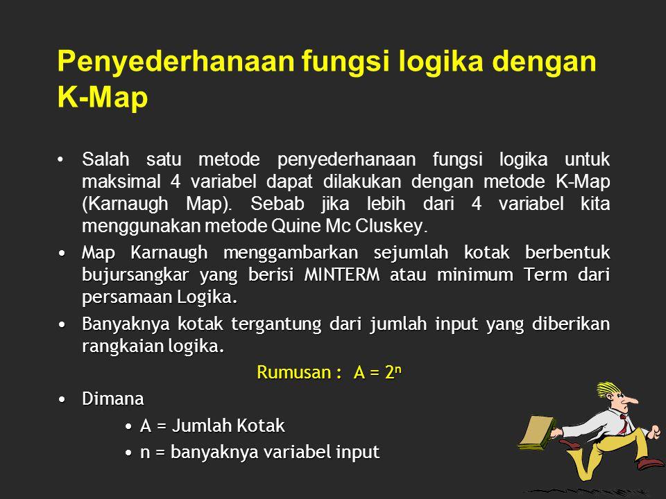 Penyederhanaan fungsi logika dengan K-Map Salah satu metode penyederhanaan fungsi logika untuk maksimal 4 variabel dapat dilakukan dengan metode K-Map