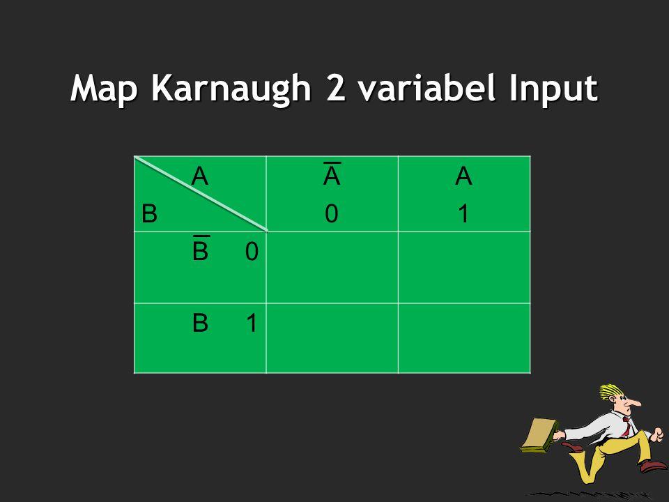 Map Karnaugh 2 variabel Input ABAB A0A0 A1A1 B 0 B 1