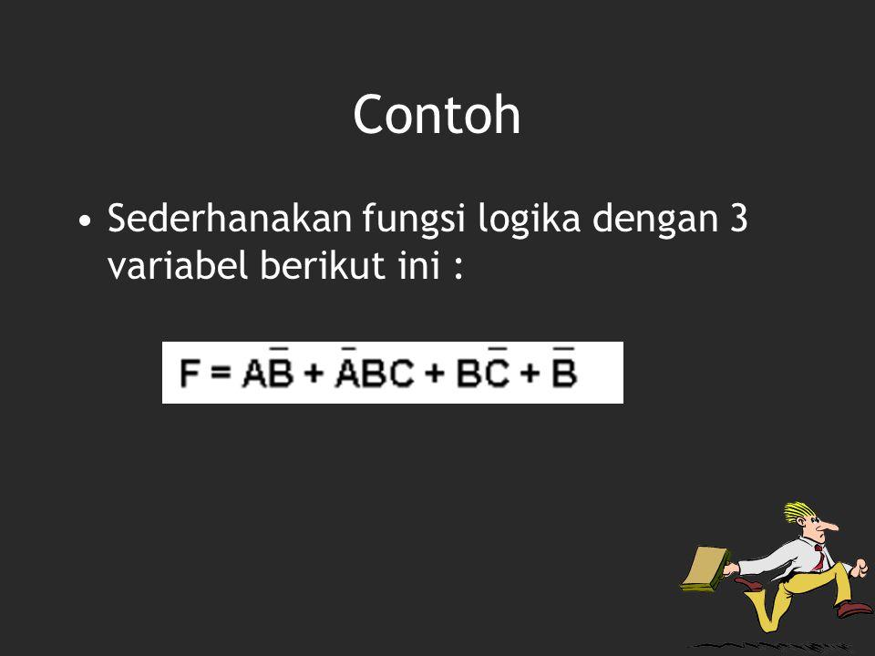Contoh Sederhanakan fungsi logika dengan 3 variabel berikut ini :