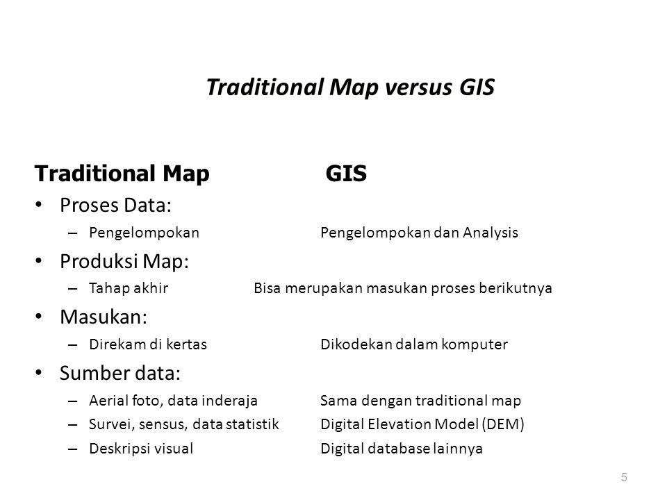 5 Traditional Map versus GIS Proses Data: – Pengelompokan Pengelompokan dan Analysis Produksi Map: – Tahap akhir Bisa merupakan masukan proses berikut