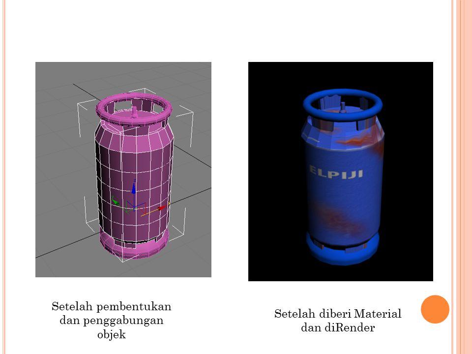Setelah diberi Material dan diRender Setelah pembentukan dan penggabungan objek