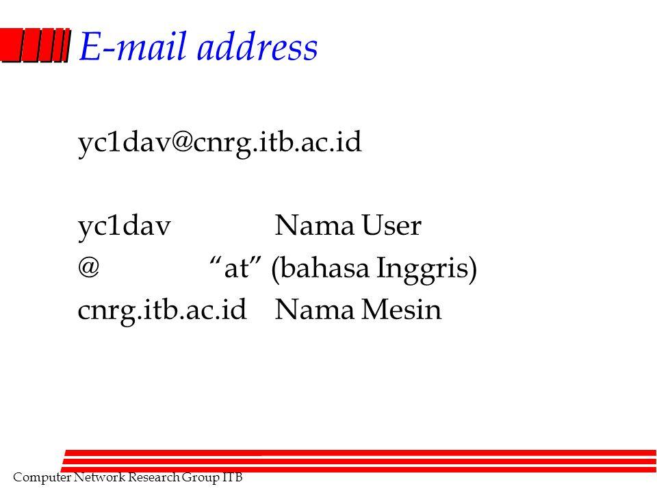 "Computer Network Research Group ITB E-mail address yc1dav@cnrg.itb.ac.id yc1davNama User @""at"" (bahasa Inggris) cnrg.itb.ac.idNama Mesin"