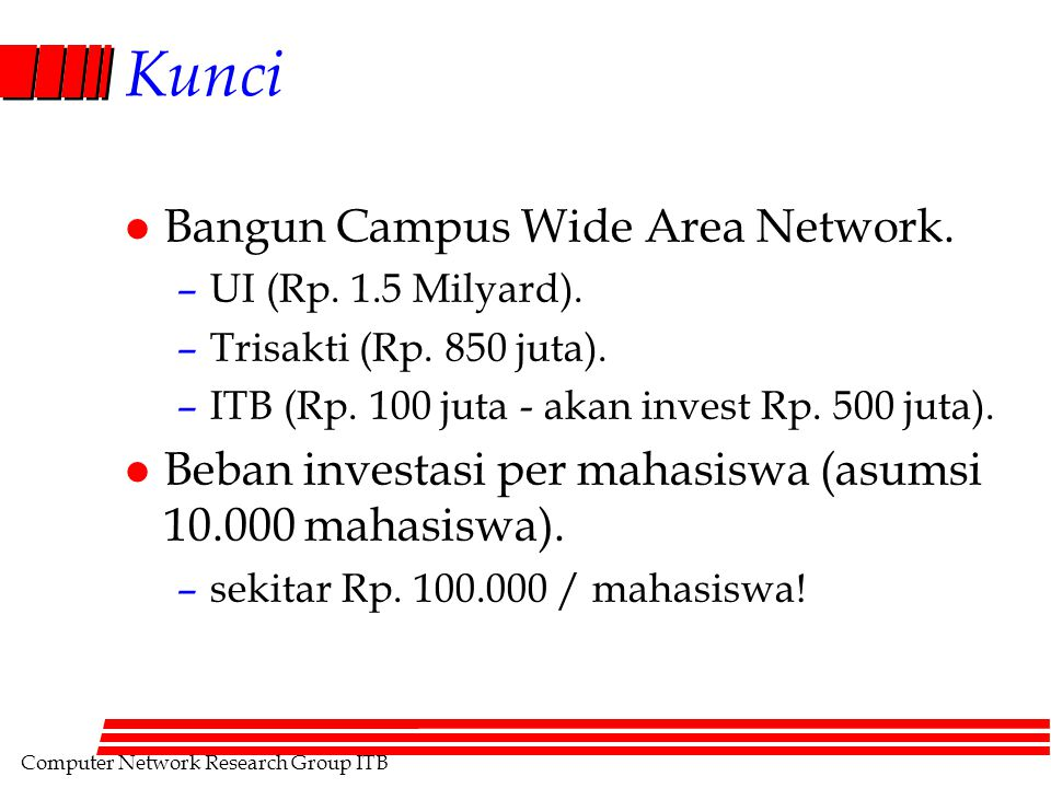 Computer Network Research Group ITB Kunci l Bangun Campus Wide Area Network.