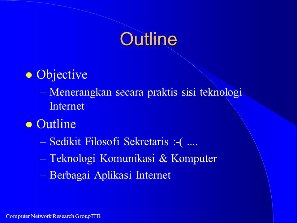 Computer Network Research Group ITB Outline l Objective –Menerangkan secara praktis sisi teknologi Internet l Outline –Sedikit Filosofi Sekretaris :-(....
