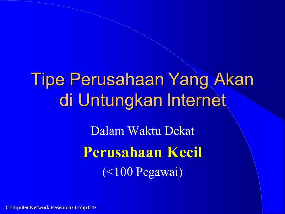 Computer Network Research Group ITB Tipe Perusahaan Yang Akan di Untungkan Internet Dalam Waktu Dekat Perusahaan Kecil (<100 Pegawai)