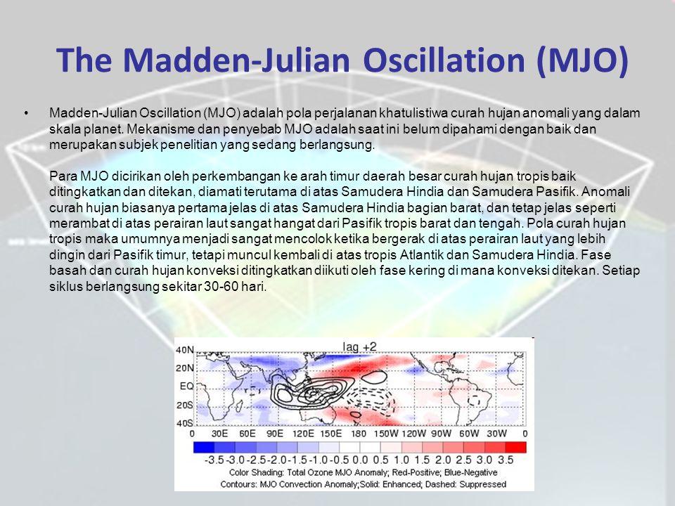 The Madden-Julian Oscillation (MJO) Madden-Julian Oscillation (MJO) adalah pola perjalanan khatulistiwa curah hujan anomali yang dalam skala planet.