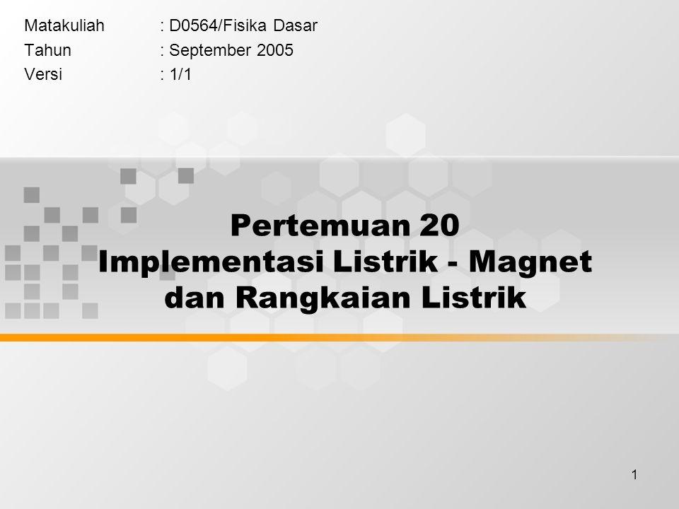 1 Pertemuan 20 Implementasi Listrik - Magnet dan Rangkaian Listrik Matakuliah: D0564/Fisika Dasar Tahun: September 2005 Versi: 1/1
