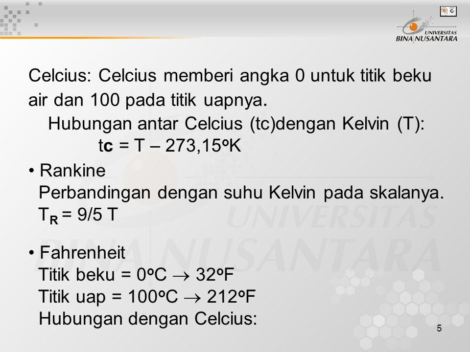 5 Celcius: Celcius memberi angka 0 untuk titik beku air dan 100 pada titik uapnya. Hubungan antar Celcius (tc)dengan Kelvin (T): tc = T – 273,15 o K R