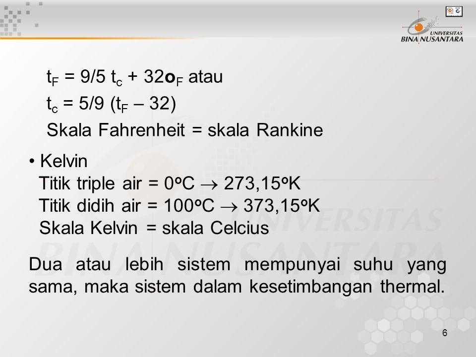 6 t F = 9/5 t c + 32o F atau t c = 5/9 (t F – 32) Skala Fahrenheit = skala Rankine Kelvin Titik triple air = 0 o C  273,15 o K Titik didih air = 100