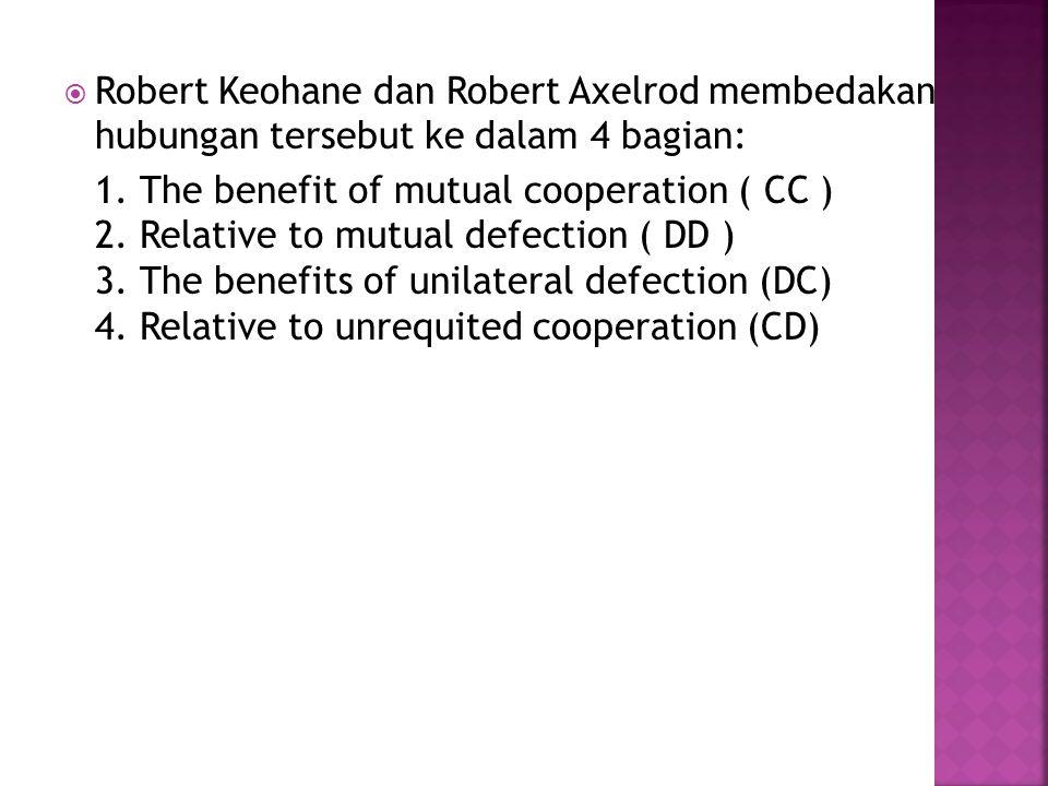  Robert Keohane dan Robert Axelrod membedakan hubungan tersebut ke dalam 4 bagian: 1. The benefit of mutual cooperation ( CC ) 2. Relative to mutual