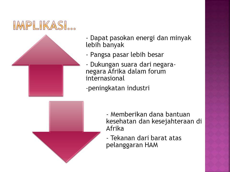 - Dapat pasokan energi dan minyak lebih banyak - Pangsa pasar lebih besar - Dukungan suara dari negara- negara Afrika dalam forum internasional -penin