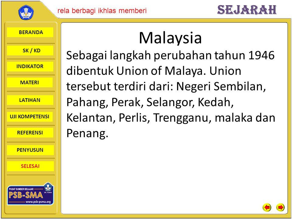 BERANDA SK / KD INDIKATORSejarah rela berbagi ikhlas memberi MATERI LATIHAN UJI KOMPETENSI REFERENSI PENYUSUN SELESAI Malaysia Sebagai langkah perubah