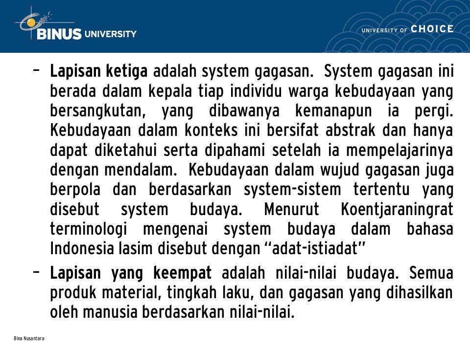 Bina Nusantara – Lapisan ketiga adalah system gagasan. System gagasan ini berada dalam kepala tiap individu warga kebudayaan yang bersangkutan, yang d