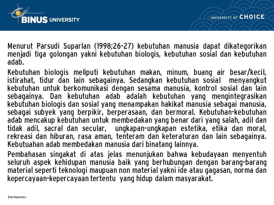 Bina Nusantara Menurut Parsudi Suparlan (1998;26-27) kebutuhan manusia dapat dikategorikan menjadi tiga golongan yakni kebutuhan biologis, kebutuhan s