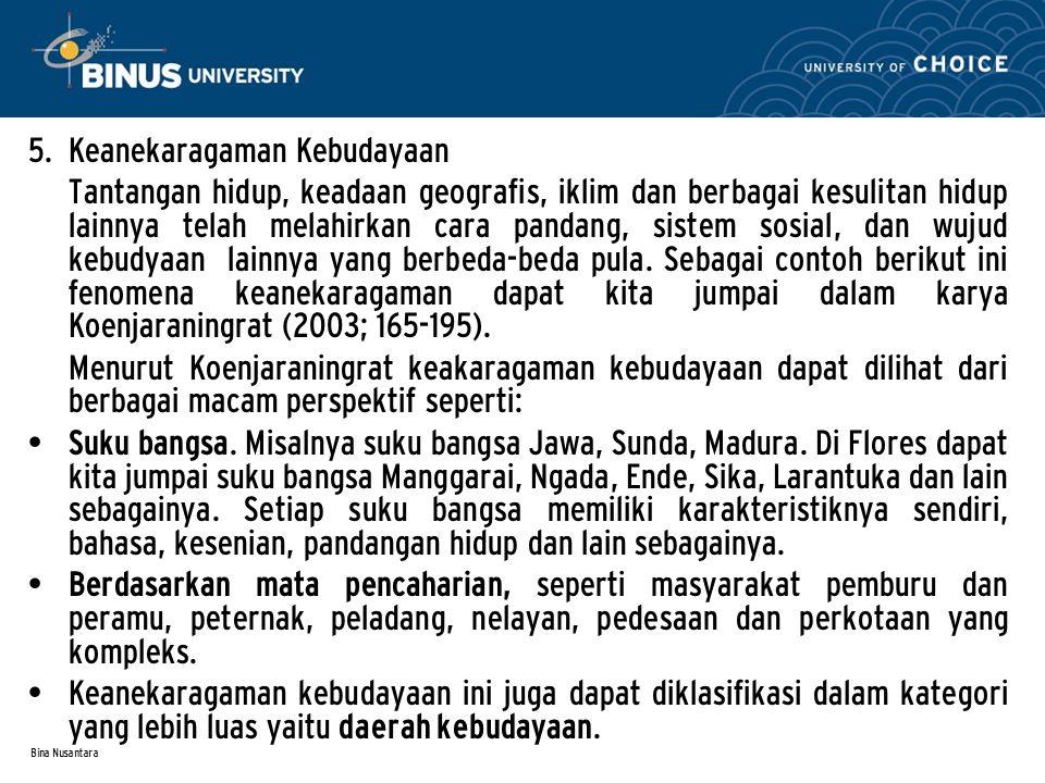 Bina Nusantara 5. Keanekaragaman Kebudayaan Tantangan hidup, keadaan geografis, iklim dan berbagai kesulitan hidup lainnya telah melahirkan cara panda